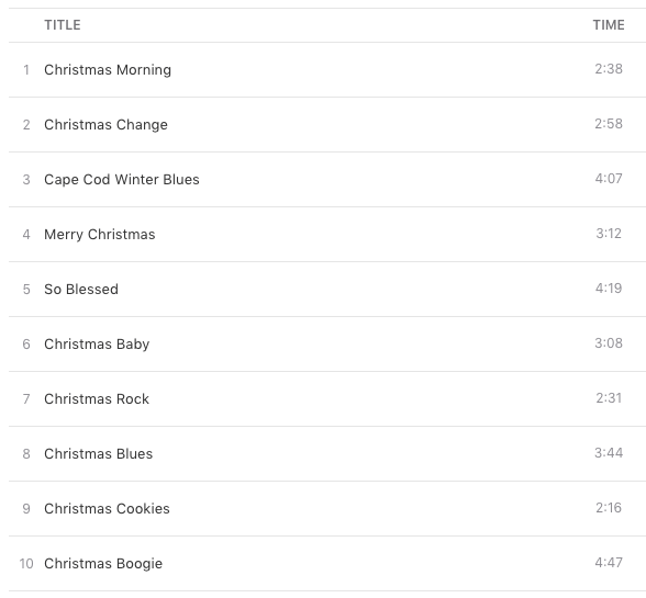 Coming Home for christmas track list - G  Love and Special Sauce